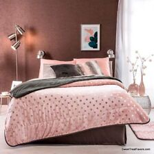 PINK SILVER POLKA BROWN BLANKET SHERPA QUEEN Bedding Decoration GIFT Fleece NEW