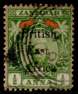 BRITISH EAST AFRICA QV SG80, ½a yellow-green & red, FINE USED. Cat £50.