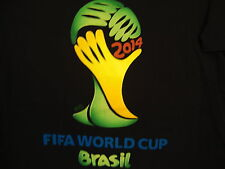FIFA World Cup 2014 Brasil Soccer Game Sports Vacation Black Adidas T Shirt M