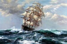 """YA481 CANVAS Hand-painted oil painting Ride the wind and waves Unframed 36"""""""