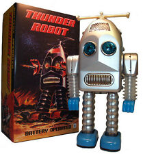 Thunder Robot Tin Toy Battery Operated Retro Toy SILVER Edition