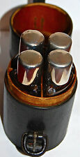 LEATHER HUNTING RACING GLASS SPIRIT NIP FLASK SET 1940's RARE GOOD CONDITION