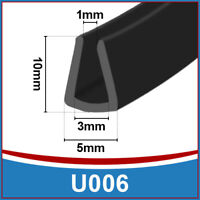 Tall Rubber U Channel Edging Edge | Flexible Trim Seal |  Fits 1mm - 3mm | Black