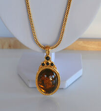 vintage 80's MONET NECKLACE double sided EGG PENDANT Faux Amber Black Resin