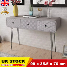 Side Cabinet Console Table with 3 Drawers Grey Storage Cabinet Chest Grey CHIC
