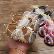 Lovely Rainbow Newborn Baby Girls Pram Shoes Infant First Step Shoes Size 1 2 3