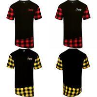 Mens Long Line T Shirt Top Flannel Plaid Short Sleeve Crew Neck Flannel Black