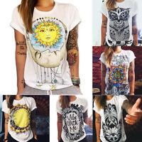 HOT Summer Women Short Sleeve Vintage Printed T Shirt Casual Tops Loose Blouse d