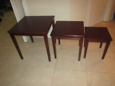 Bombay Style 3 Piece Nesting Stacking Tables Solid Mahogany Wood