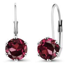 2.00 Ct Round Red Rhodolite Garnet 925 Sterling Silver Earrings