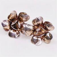 Vtg Gold Over Sterling 925 Silver Handmade Screw Back Earrings Rose Flower