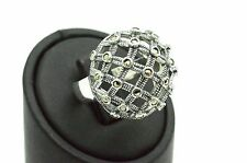 Round Marcasite Boho Punk 925 Sterling Silver Woman Ring 6.75 Handmade US Seller