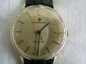 Vintage Mens Junghans 14ct Gold Wristwatch Watch with New Leather Band