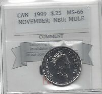 **1999 November Mule**Coin Mart Graded Canadian, 25 Cent, **MS-66 NBU**