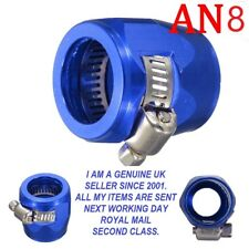 AN -8  9-16mm OD Braided Fuel Hose Line End Cover Clamp Finisher Fitting BLUE.