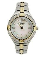 Fossil Blue AM-3461 Womens Watch Mother of Pearl Crystals 100 Meters Gold Silver
