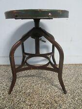 Antique Vintage Toledo Industrial Stool Chair Adjustable Swivel Steampunk