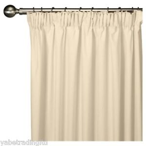 """IVORY FAUX SILK LINED PENCIL PLEAT CURTAINS 44"""" X 90"""" LOUNGE DRAPES PAIR NEW"""