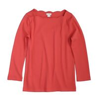 J. by J.Crew - Women's S - NWT$45  Coral Red 3/4 Sleeve Scallop Boat Neck Tee