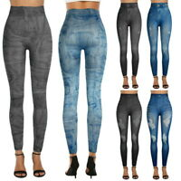 Femme Jeans Look Yoga Legging Casual Taille Hauts Fitness Elastique Pantalons