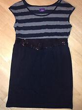 Iska ASOS Vintage Black & Grey Stripe Sleeveless Tunic Dress Sequin Belt Effect
