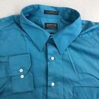 Arrow Dress Shirt Mens 18/2XL Blue 34/35 Sleeve Regular Fit Wrinkle Free Sateen