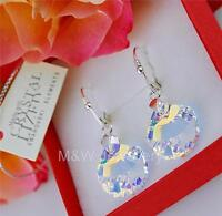 925 STERLING SILVER EARRINGS CRYSTALS FROM SWAROVSKI® *SHELL* CRYSTAL AB 16MM