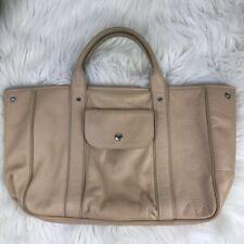 Longchamp Womens Tote Handbag Beige Snap Zip Pockets Lined Top Handle Bag Purse