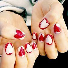 24 Pcs Bridal Red White Heart Square Short Full Cover False Nail Wedding Holiday