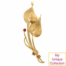 Antique Ruby 18K Yellow Gold Floral Pin Brooch