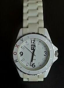ROXY JAM White Resin Silicone Diver Swim Sport Watch WOW