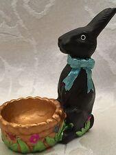 "Chocolate Easter Bunny Rabbit Easter Egg Holder Figurine 4"""