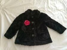 IKKS Made In France City Chic Girls 6A (5-6y) BLACK FAUX FUR COAT NWT RRP $200+