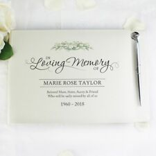 Personalised Funeral Guest Book and Pen Set In Loving Memory, Wake, Memories