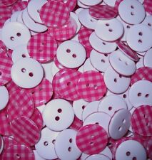 50   So Pretty Hot Pink Check  2 Hole  Resin  Buttons    15 mm  Wide   Wt 25  g