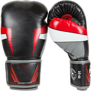 Osport Elite Boxing Gloves, Black/Red/Grey, 10-Oz