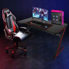 "Gaming Desk 47.2"" Z-shape Home Office Computer PC Desk w/ LED Light Black US"