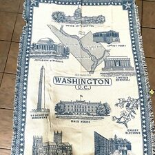 New 100% Cotton Washington DC Throw Blanket Beige And Blue Fringe Made In USA