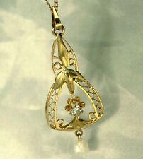 14ct gold Diamond Pearl Art Deco pendant with an European cut Diamond & Pearl