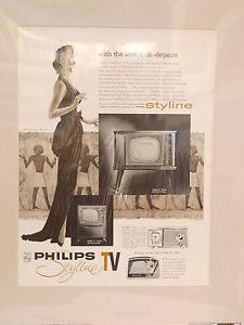 Original 1957 Vintage TV Mounted Advert Philips Styline TV and Mantel Radio