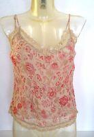 top en Soie ♥ GOOD LOOK ♥ S M 36 38 40 haut débardeur bretelle nude fleurs rose