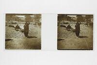 Egipto Escena De Calle Placa De Cristal Estéreo Positivo Vintage Aprox 1910