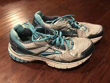 Brooks Adrenaline GTS 13 Women's White Blue Gray Turquoise Running Shoe Sz 7.5