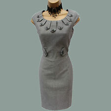 Karen Millen Grey Wool Blend Button Tailored Work Office Pencil Dress 8 UK