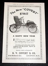 "1903 OLD MAGAZINE PRINT AD, THE NEW ""COVERT"", OUR LIGHT CHAINLESS TOURING CAR!"