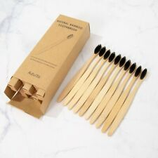 10PCS Eco Friendly Natural Bamboo Wooden Handled Soft Toothbrush Oral Care