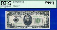 FR-2055-B 1934-A $20 FRN (( Grade Rarity )) PCGS Superb-Gem 67PPQ # B95924783A