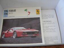 FICHE CARD car  FERRARI ITALIE  288 GTO 1984 1986