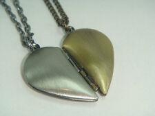 Set of Split Half Heart Locket Necklaces BFF Sister Best Friends Cousins Mother