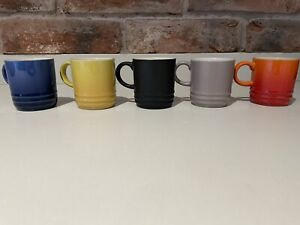 le creuset 5 Espresso Stoneware Cups *please Read Description*